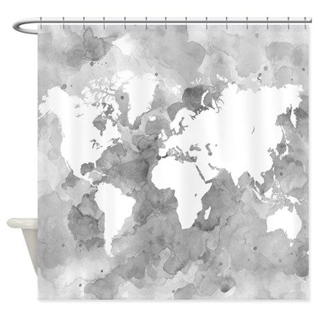 Design 49 world map grayscale shower curtain gumiabroncs Image collections