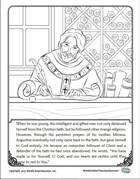 Free Coloring Page For St Augustine S Feast Day Coloring Pages Catholic Kids Catholic Coloring