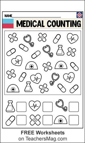 Medical Counting Math Worksheets Community Helpers Worksheets Community Helpers Community Helpers Preschool