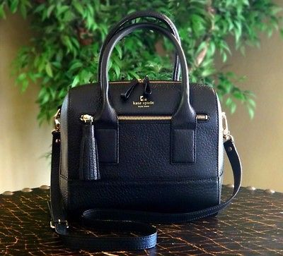 bf82fecd27 NEW Kate Spade Southport Ave Alessa BLACK Leather Satchel Crossbody Bag  Purse