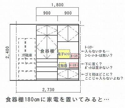 間取り図の食器棚サイズ把握してますか リフォーム 間取り キッチン 背面収納 キッチン 収納 造作