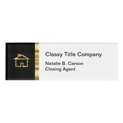 Classy Real Estate Title Company Staff Name Tag Zazzle Com Real Estate Name Tags Real