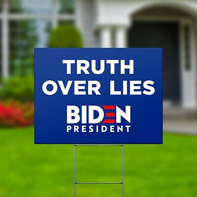 Political Sign Truth Over Lies Joe Biden President 2020 Yard Sign with Stake