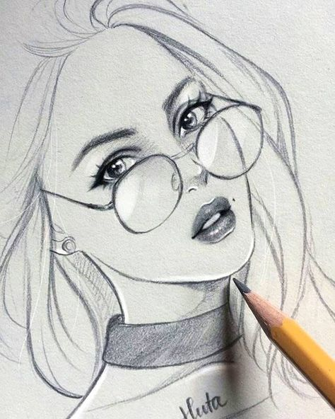 Girl With Glasses Drawing