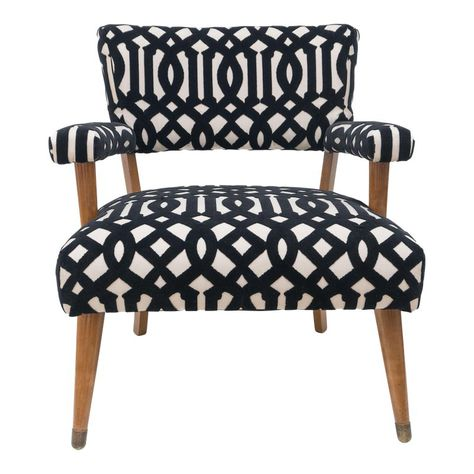1960s Mid Century Modern Black And White Pattern Velvet Accent