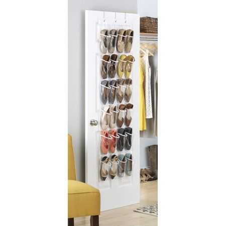 Whitmor 24 Pocket Over The Door Shoe Organizer Clear 9 5 Inch X 20 5 Inch In 2020 Door Shoe Organizer Shoe Organizer Hanging Storage