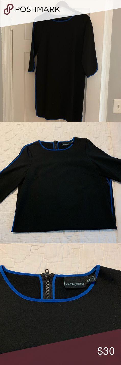 42e440f51dc Cynthia Rowley Size 4 black with blue trim dress This is a Cynthia Rowley  dress