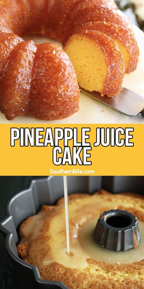 This super easy Pineapple Juice Cake recipe starts with a boxed cake mix, but is drenched in a super delicious pineapple juice soak that makes the cake amazingly moist and decadent. Köstliche Desserts, Delicious Desserts, Yummy Food, Plated Desserts, French Desserts, Tasty, Sweet Desserts, Pineapple Desserts, Pineapple Juice