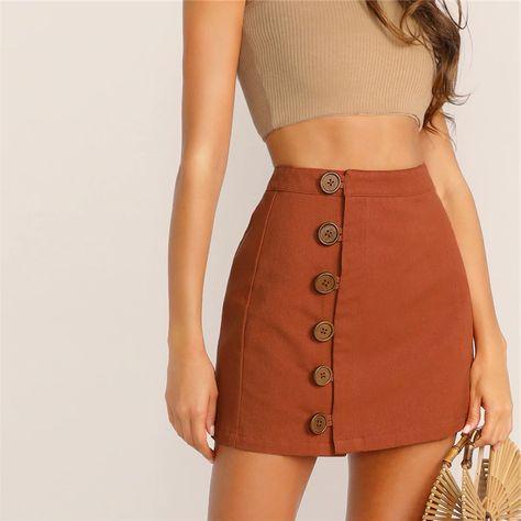 FREE SHIPPING Women High Waist Button Skirt JKP1760
