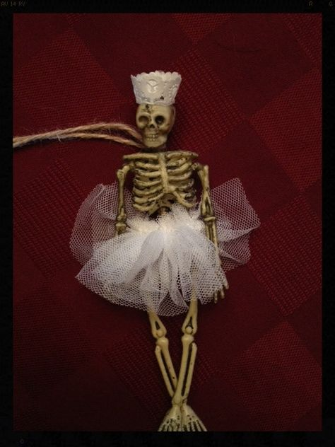 White Swan  Ballerina Skeleton Halloween Decoration for Halloween Party or Day of the Dead