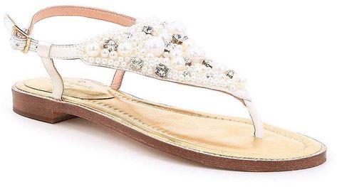 e2c72cdf6d5b Kate Spade New York kate spade new york Sama Satin Pearl and Jewel  Embellishment Ankle Strap Thong Sandals