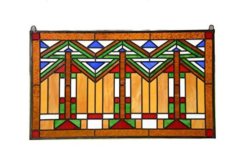 Craftsman Color Mission Style 20.5 x 30.5 Vertical Stained Glass Panel