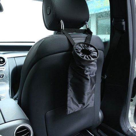 lRICE-home Auto Car Backseat Headrest Hanging Rubbish Trash Bag Garbage Can Storage Pouch