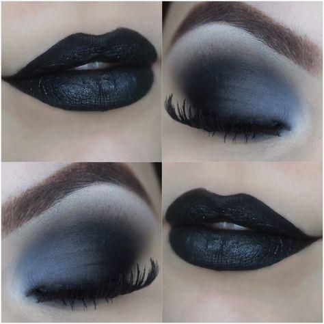 Black makeup tutorial with Black Swan Black Eyeshadow Black makeup Swan black tutorial In theory, Eye Makeup Tips, Makeup Goals, Makeup Inspo, Makeup Art, Makeup Inspiration, Beauty Makeup, Goth Eye Makeup, Makeup Style, Skin Makeup