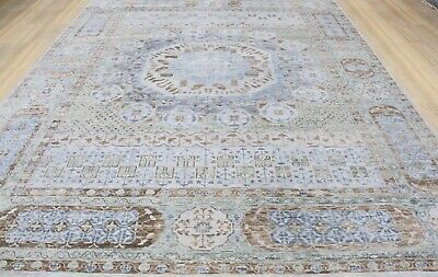 12x15 Handknotted Mumluk Fine Wool Rug Blue Gray Ivory Beige Color 1 2 Pile Hi In 2020 Rugs Wool Rug Beige Color