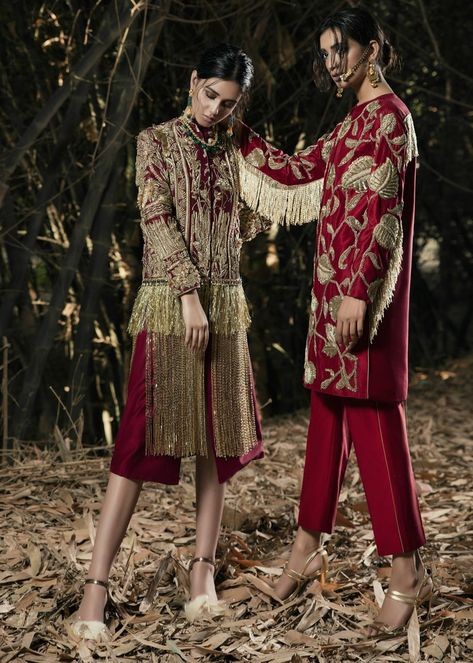 red and golden party wear osm dress