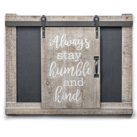 Decorate your home with this lovely Crystal Art Gallery Stay Humble & Kind Barn Door Chalkboard Wall Decor. Barn Door Decor, Barn Doors, Large Chalkboard, Chalkboard Ideas, Stay Humble, How To Distress Wood, Home Decor Outlet, Wood And Metal, Metal Barn