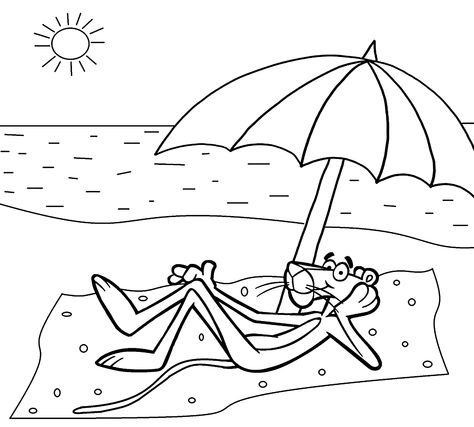 Pink Panther On The Beach Coloring Pages For Kids Printable Free