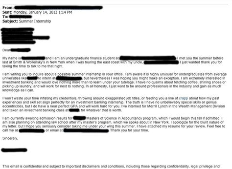 Cover Letter Vs Resume Mesmerizing Kid Sends Perfectly Blunt Cover Letter For Wall Street Internship 2018