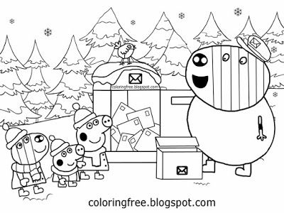 Christmas Peppa Pig Coloring Pages Winter Easy Printable Cartoons ...