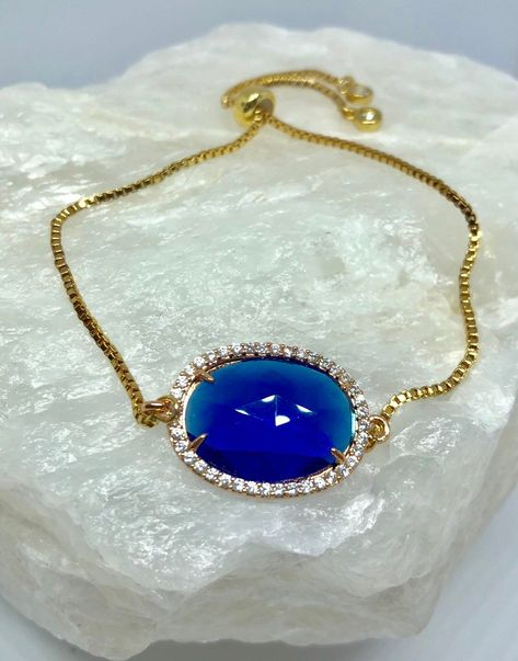 Excited to share this item from my #etsy shop: Blue rhinestone crystal, gold plated slider chain bracelet, available @ www.Loonalight.com or Etsy.com under Loonalight