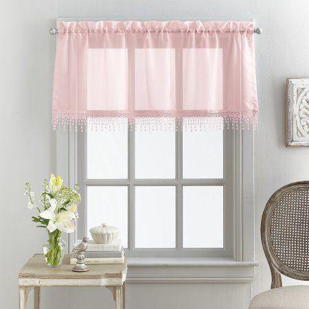 Mainstays Macrame Tailored Curtain Valance Walmart Com In 2020 Valance Curtains Home Diy Valance