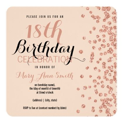 18th Birthday Rose Gold Faux Glitter Confetti Card