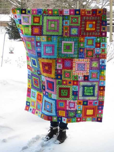 Another pinner wrote: I ❤ quilting . Crayon Box Quilt- I remember seeing a quilt by Kaffe Fassett where the sunlight shines through the fabric to give it a stained glass effect. ~By nancy lou quilts by Vixx Patchwork Quilting, Scrappy Quilts, Baby Quilts, Crazy Patchwork, Crazy Quilting, Quilting Projects, Quilting Designs, Sewing Projects, Quilting Ideas