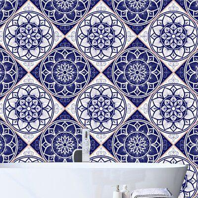 Dakota Fields Mitcheldean Portuguese Tile 10 L X 24 W Peel And Stick Wallpaper Roll Peel And Stick Wallpaper Portuguese Tile Wallpaper Roll
