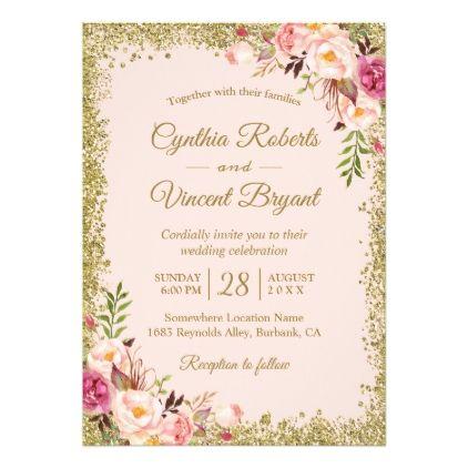 Blush Pink Gold Glitters Floral Wedding Invitation Zazzle Com Floral Bridal Shower Invitations Floral Invitation Birthday Invitations