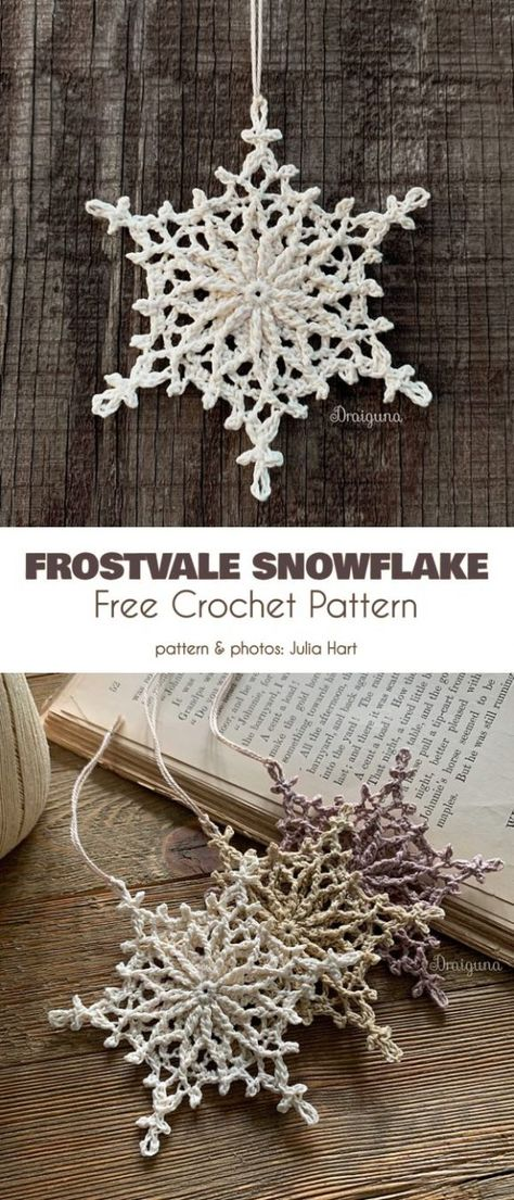 Frostvale Snowflake Free Crochet Pattern if you like to make an exceptional Christmas gift, a set of lacy snowflakes will be a perfect choice to make someone you like very happy with a handmade gift and feel the joy of giving.