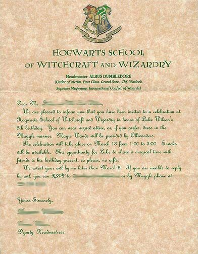 Harry Potter Party Invitations from The Best Birthday Blog - hogwarts acceptance letter