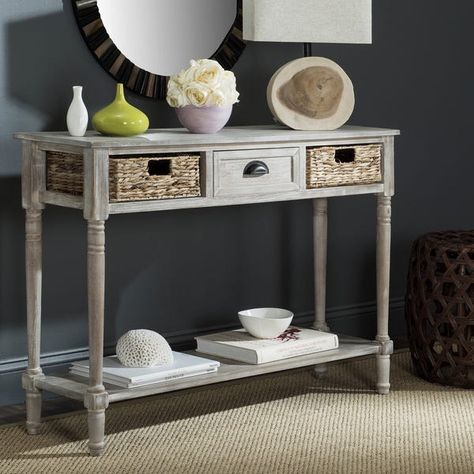 safavieh christa vintage white washed 3-drawer console