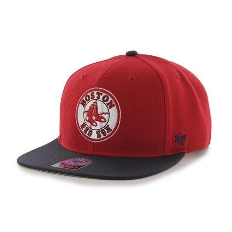 b3f6df8e8ec Boston Red Sox 47 Brand Red Sure Shot Two Tone Captain Adjustable ...