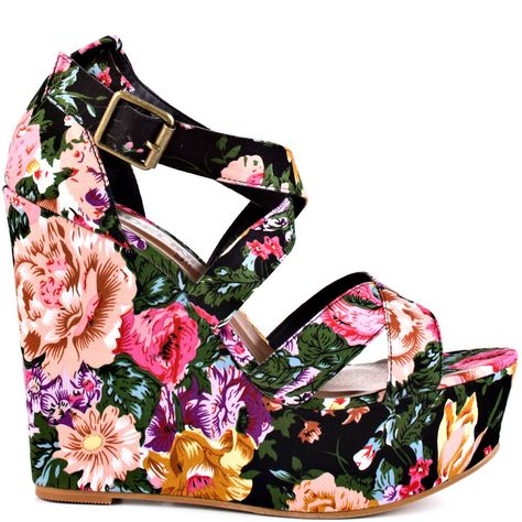 Floral Heels I Love #floral #flowers #heels #summer #high_heels #color #love #shoes   Wildflower - Black By                      Madeline Girl