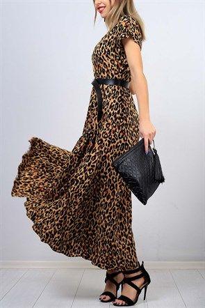 V Yaka Leopar Desenli Bayan Elbise 9971b The Dress Kadin Giyim Elbise