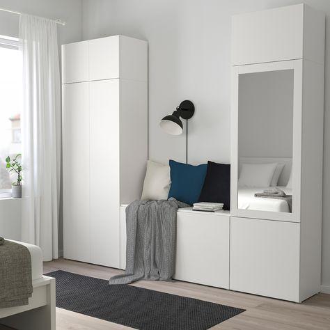 Armadio Ikea Bianco Due Ante.Platsa Guardaroba Con 9 Ante Bianco Fonnes Ridabu 260x42x221 Cm