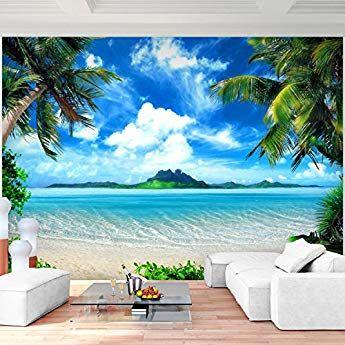 Sfondo Fotografico Palme Da Mare Spiaggia 352 X 250 Cm Lana