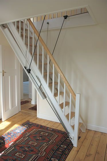 Amazing Attic Stairs The Style Of Stairs We Will Need Since Our Attic Access Is In  The Kitchen Closet Not Much Space But Bigger Then It Could Be | Pinterest |  Attic ...