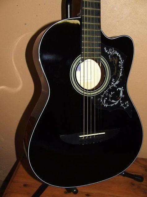 Acoustic Guitar With Cutaway Folk Style Gloss Black Brand New Bidorbuy Co Za Black Acoustic Guitar Guitar Acoustic Guitar