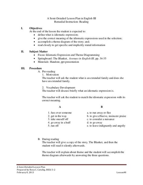 semi detailed lesson plan for integers Dividing whole numbers lesson plan teaching materials one copy of text per student lesson - dividing whole numbers (see below for printable lesson) prepared examples.