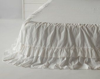 Double Ruffled Linen Bed Skirt Bedskirt Dust Ruffle Ruffled