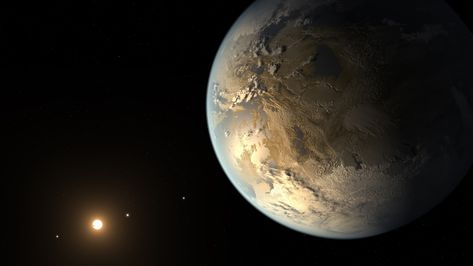 Earth-size Kepler-186f Illustration Credit: NASA Ames / SETI Institute / JPL-Caltech, Discovery: Elisa V. Quintana, et al. Planet Kepler-186f is the first known Earth-size planet to lie within the habitable zone of a star beyond the Sun. Discovered using data from the prolific planet-hunting Kepler spacecraft, the distant world orbits its parent star, a cool, dim, M dwarf star about half the size and mass of the Sun, some 500 light-years away in the constellation Cygnus.