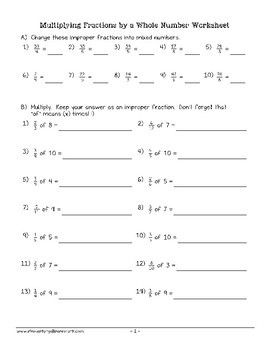 Multiplying Fractions By Whole Numbers Worksheet 4th Grade 4 Nf
