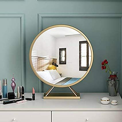 Gold Round Mirror With Base Large Circle Mirrors For Dressing Table Decor 19 68in Big Metal Frame Standi Living Room Mirrors Mirror Table Dressing Table Mirror
