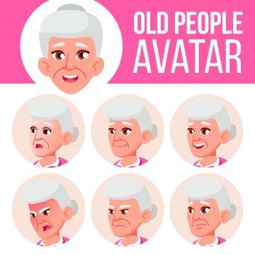 Old Woman Avatar Set Vector Face Emotions Senior Person Portrait Elderly People Aged Head Icon Happiness Enjoyment Cartoon Head Illustration Colorful Respect Avatar Person Cartoon Woman Face Silhouette