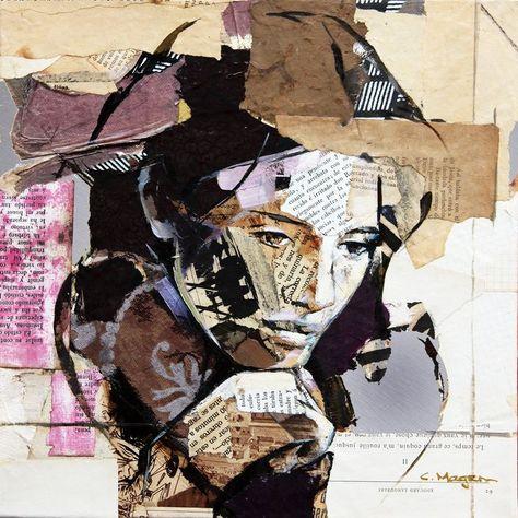 Carme Magem, Woman Portrait – Collage Art Printed on Metal