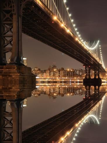 See New York City Skyline and Manhattan Bridge At Night Night Aesthetic, City Aesthetic, Travel Aesthetic, Aesthetic Vintage, Brown Aesthetic, Aesthetic Bedroom, Aesthetic Photo, Aesthetic Girl, Photo Wall Collage