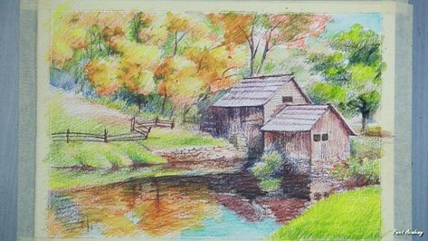 Painting A House Landscape With Watercolor Pencil Step By Step