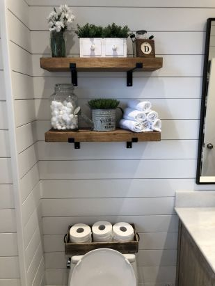80 Affordable Rustic Bathroom Storage Ideas Decoradeas Diy Wood Shelves Shelves Wood Bathroom